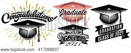 Set Of Graduation Vector For Class Of 2021. Congrats Grad Congratulations Graduate.