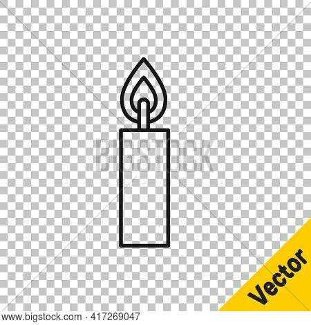 Black Line Burning Candle Icon Isolated On Transparent Background. Cylindrical Candle Stick With Bur