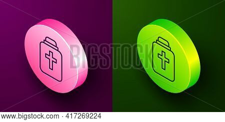 Isometric Line Funeral Urn Icon Isolated On Purple And Green Background. Cremation And Burial Contai
