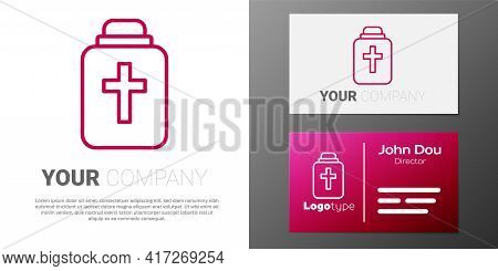 Logotype Line Funeral Urn Icon Isolated On White Background. Cremation And Burial Containers, Columb
