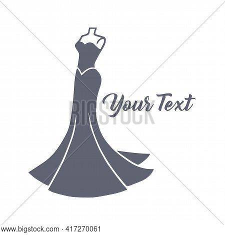 Wedding Bridal Wear Boutique. Elegant Gown Sexy Dress Fashion Logo Design Vector Illustration