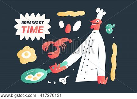 The Cook Prepares Scrambled Eggs. Fresh Pastries For Breakfast