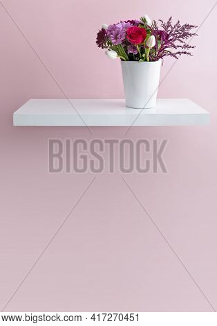 Flower Bouquet In A Vase On A Floating Shelf Minimalist Interior Design