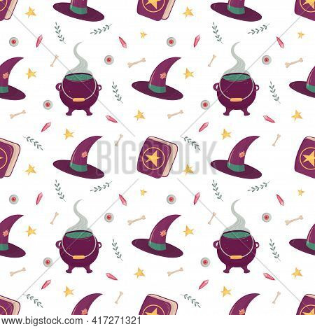 Witch Seamless Pattern With Esoteric Mystic Elements. Witchcraft Supply - Cauldron With Poison, Hat,