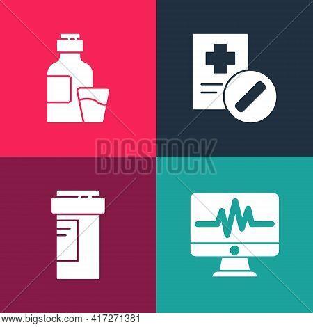 Set Pop Art Monitor With Cardiogram, Medicine Bottle, Medical Prescription And Bottle Of Medicine Sy