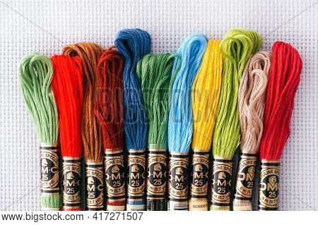 Tambov, Russian Federation - October 20, 2020 Different Colors Dmc Six Strand Floss In A Row On Whit