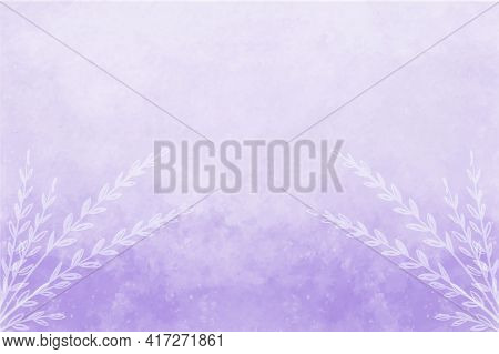 Hand Painted Watercolor Sky And White Flowers. Purple Abstract Watercolor Background. Vector Illustr