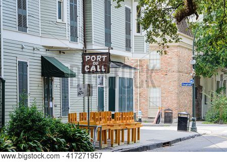 New Orleans, La - August 19: Famous Port Of Call Restaurant On Esplanade Avenue Sits Quietly On Augu