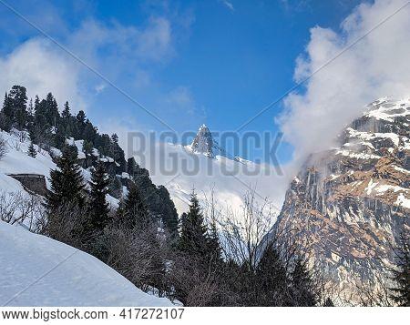 Ski Tour Near The Zervreilhorn Above The Reservoir. In The Beautiful Vals Valley. Beautiful Winter L