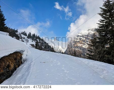 The Zervreilahorn Between The Clouds. The Bundner Matterhorn. Ski Tour On The Fanellhorn On A Beauti