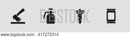 Set Wooden Axe, Garden Sprayer For Fertilizer, Carrot And Fertilizer Bag Icon. Vector