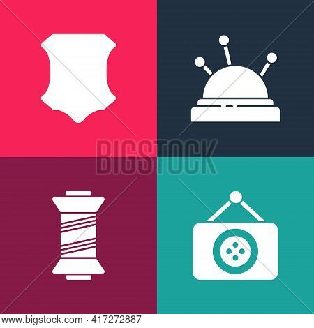 Set Pop Art Tailor Shop, Sewing Thread, Needle Bed And Needles And Leather Icon. Vector
