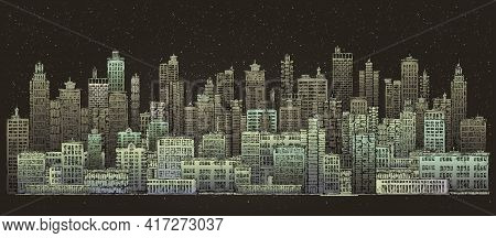 Modern Night City Skylines. Illustration With Architecture, Skyscrapers, Megapolis, Buildings, Downt