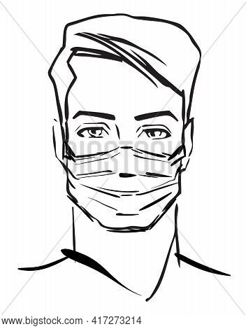 Man In Medical Face Protection Mask. Covid-19, Novel Coronavirus, Handsome Man With Medical Face Mas