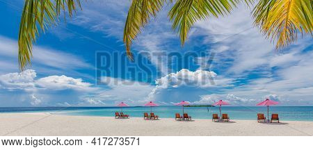 Beautiful Tropical Island Seascape, Two Sun Beds, Loungers, Umbrella Under Palm Tree. Panoramic View