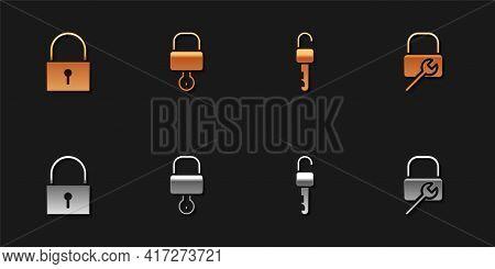 Set Lock, And Key, Unlocked And Repair Icon. Vector