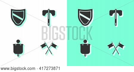 Set Crossed Medieval Flag, Shield, Medieval And Axe Icon. Vector