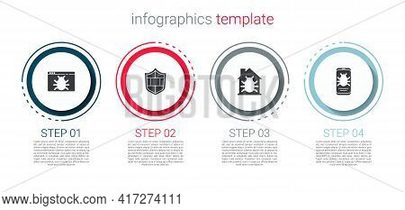 Set System Bug, Shield With Brick Wall, House System And On Mobile. Business Infographic Template. V