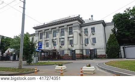 Front Facade Of The Building Of The Russian Embassy In Ukraine On Vozdukhoflotsky Avenue In Kiev