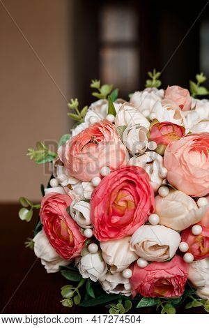 Morning Of The Bride. Bridal Bouquet. Wedding Candles In The Church. Wedding Rings In A Red Box. Whi