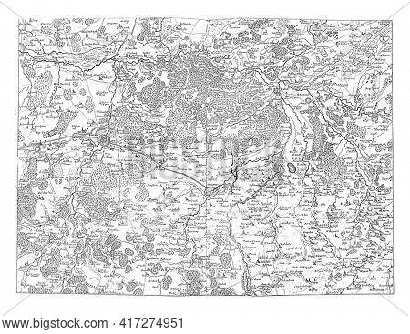 Map of Brabant, vintage engraving.