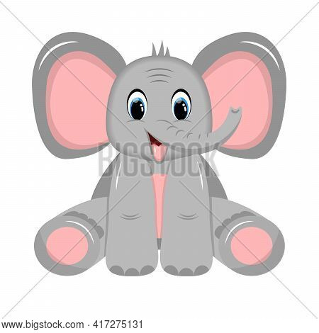 Charming Happy Baby Elephant With Big Ears Sitting