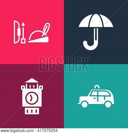 Set Pop Art Taxi Car, Big Ben Tower, Umbrella And Robin Hood Hat Icon. Vector