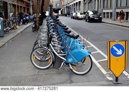 DUBLIN, IRELAND - MAY 12, 2011: Dublinbikes in bike rack on Dublin, Ireland street