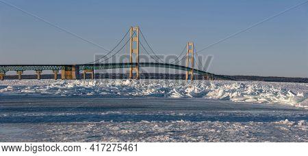 Panoramic view of Mackinac bridge in winter time