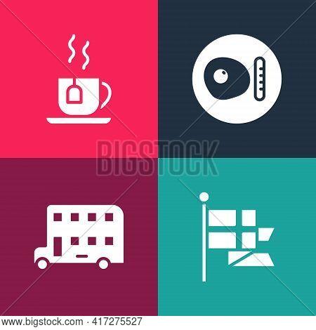 Set Pop Art England Flag On Flagpole, Double Decker Bus, British Breakfast And Cup Of Tea With Tea B