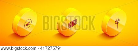 Set Isometric Hunt On Rabbit With Crosshairs, Stacks Paper Money Cash And Lollipop Icon. Vector