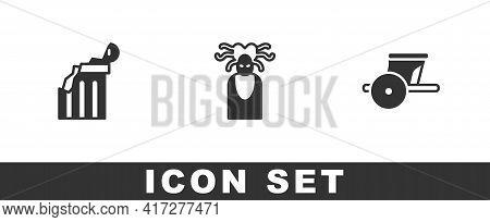 Set Broken Ancient Column, Medusa Gorgon And Ancient Chariot Icon. Vector