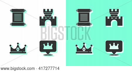 Set Location King Crown, Decree, Parchment, Scroll, King And Castle, Fortress Icon. Vector