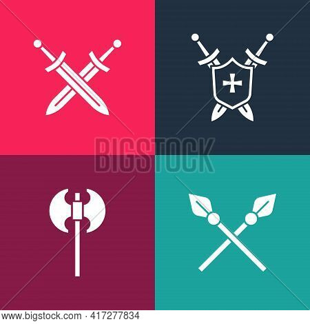 Set Pop Art Crossed Medieval Spears, Medieval Axe, Shield With Swords And Icon. Vector