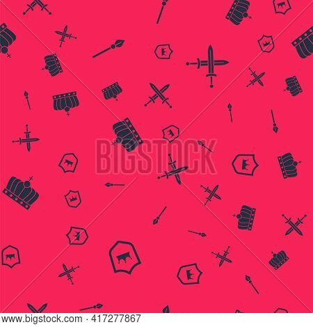 Set Shield With Crown, Medieval Spear, King And Crossed Medieval Sword On Seamless Pattern. Vector