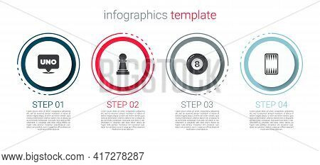Set Uno Card Game, Chess, Billiard Pool Snooker Ball And Backgammon Board. Business Infographic Temp