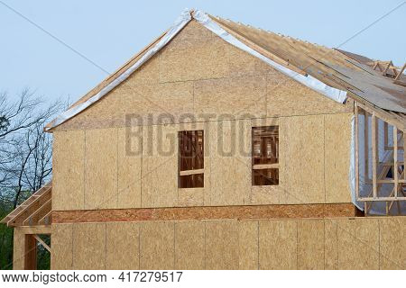 Rafters And Walls Of A Plywood House New Woodwork Work Building Rooftop