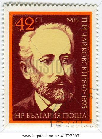 BULGARIA - CIRCA 1985: Postage stamps printed in Bulgaria dedicated to Pyotr Ilyich Tchaikovsky (1840-1893), Russian composer, circa 1985.