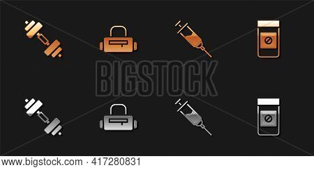 Set Dumbbell, Sport Bag, Doping Syringe And Anabolic Drugs Icon. Vector
