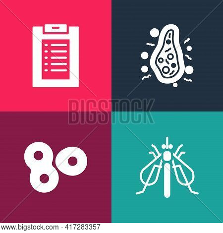Set Pop Art Experimental Insect, Cell Division, Bacteria And Clinical Record Icon. Vector
