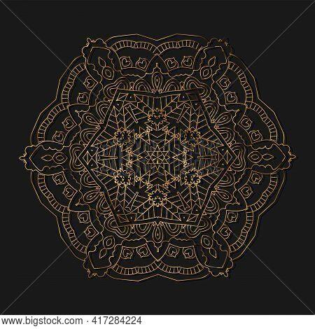 Gold Mandala. Ethnic Decorative Elements. Hand Drawn Background. Islam, Arabic, Indian, Ottoman Moti