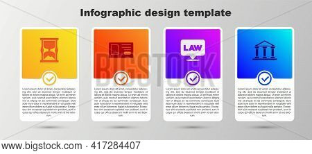 Set Old Hourglass, Identification Badge, Location Law And Courthouse Building. Business Infographic
