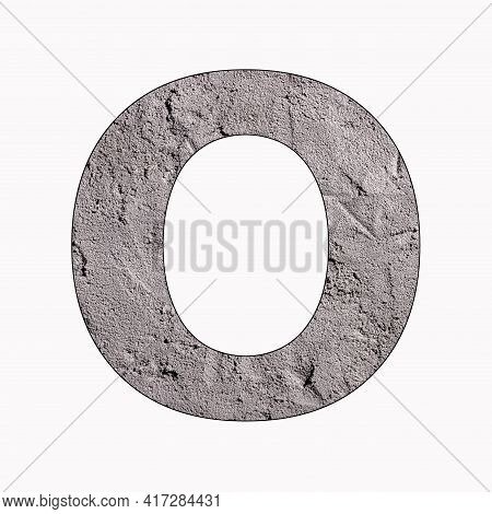 Letter O - Alphabet In Gray Stucco Texture