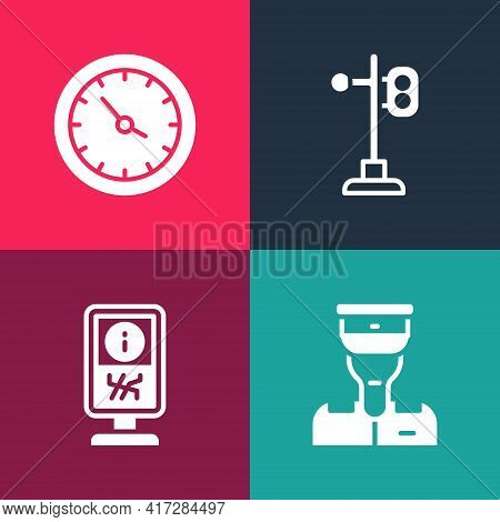 Set Pop Art Train Conductor, Information Stand, Traffic Light And Station Clock Icon. Vector