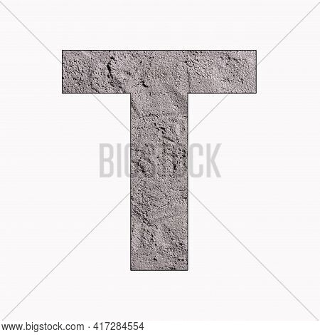 Alphabet Letter T On Gray Stucco Texture