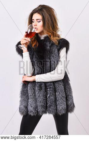 Woman Drink Wine Wear Luxury Fur Clothing. Luxury Winery Concept. Fashionable Lady Likes Luxury. Fas