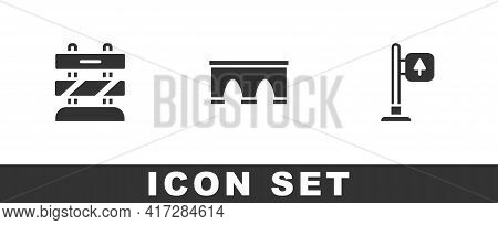 Set End Of Railway Tracks, Bridge For Train And Road Traffic Signpost Icon. Vector