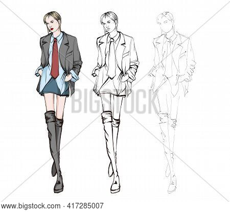 Beautiful Young Woman In Spring Coat. Hand Drawn Fashion Girl. Fashion Model Posing. Sketch. Vector