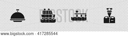 Set Covered With Tray, Cruise Ship, Beach Pier Dock And Captain Of Icon. Vector
