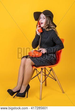 Communication. Child In Heels And Elegant Hat Speak On Phone. Wearing Classy Apparel. Kid With Vinta